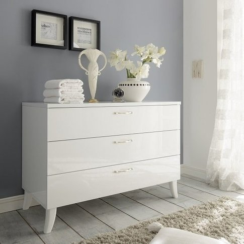 Lagos Chest Of Drawers In High Gloss White With 3 Dr...