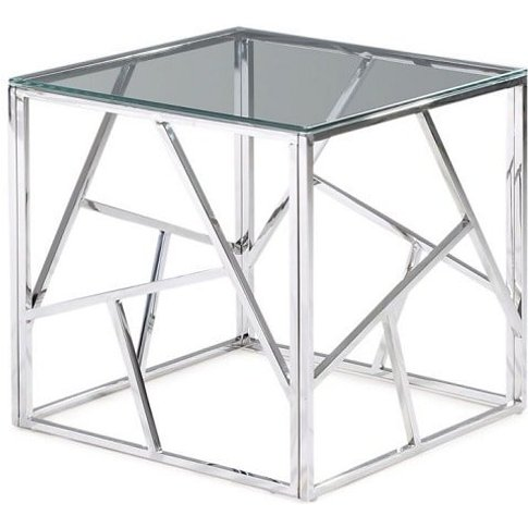 Lamont Glass Side Table With Polished Stainless Stee...