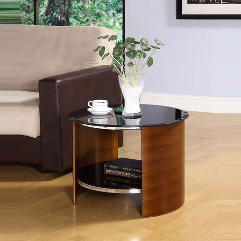 Bentwood Lamp Table Round In Walnut With Black Gloss...