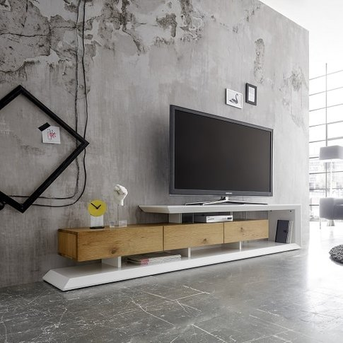 Langley Tv Stand In Matt White And Knotty Oak With 3...