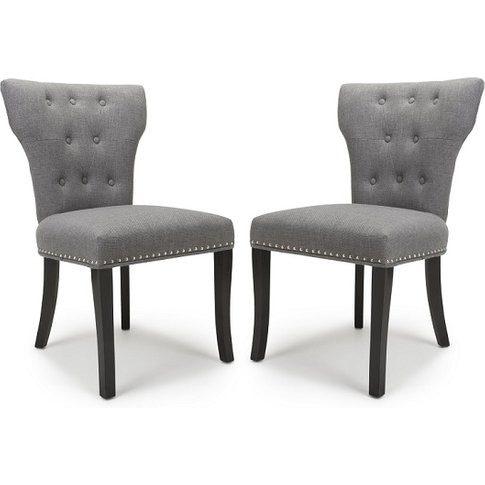 Larna Linen Effect Accent Chair In Steel Grey In A Pair