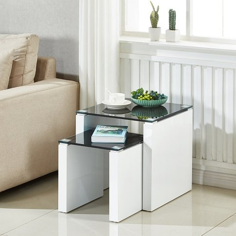 Larus Nesting Tables In Black Glass And White High G...