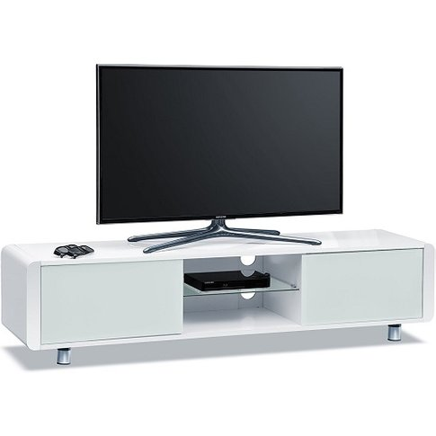 Lasker Wooden Tv Stand In White High Gloss With Two ...