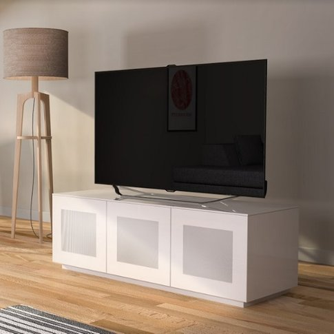 Latvia Modern Glass Tv Stand In White High Gloss