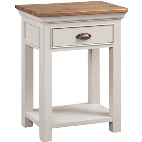 Leanne Console Table In Stone Washed White With One ...
