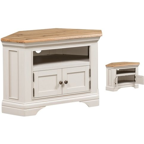 Leanne Corner TV Stand In Stone Washed White Finish