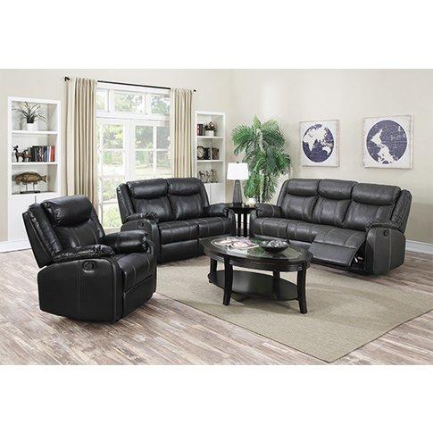 Leeds Leatherlux And Pu Recliner Sofa Suite In Gun M...