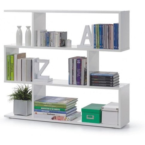 Legacy Stylish Wide Bookcase In High Gloss White Wit...