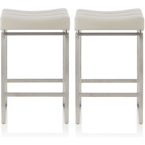Leighton Bar Stool In Grey Faux Leather In A Pair