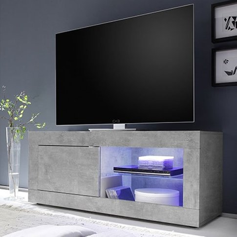 Taylor Led Wooden Small Tv Stand In Concrete With 1 ...
