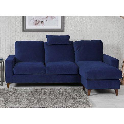 Lenny Velvet Upholstered Chaise Sofa Bed In Blue