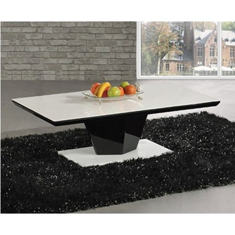 Lerona High Gloss Coffee Table With White Top And Bl...