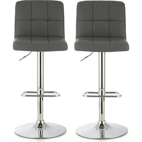 Lesly Contemporary Bar Stool In Grey Faux Leather In...