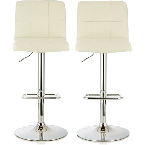 Lesly Contemporary Bar Stool In White Faux Leather I...