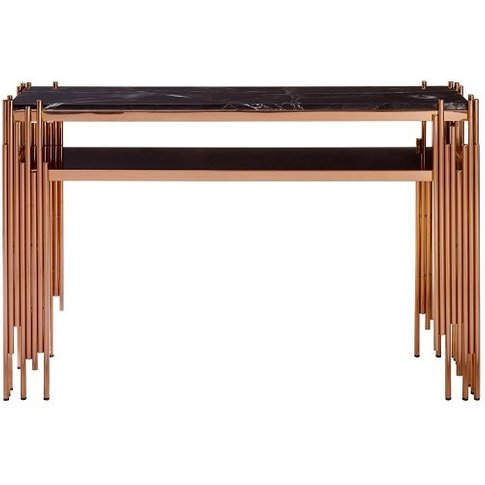 Levinson Marble Top Console Table With Rose Gold Frame