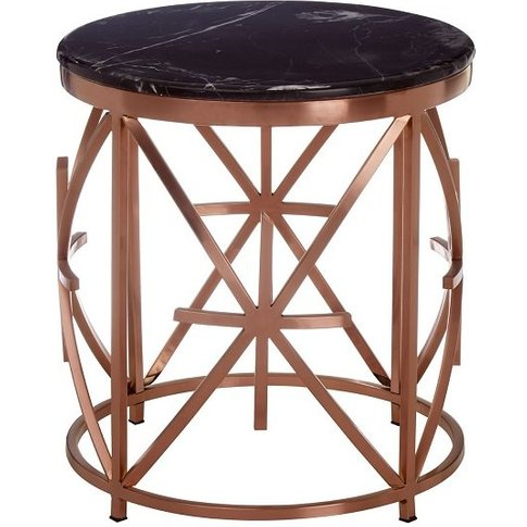 Levinson Marble Top Side Table With Rose Gold Frame