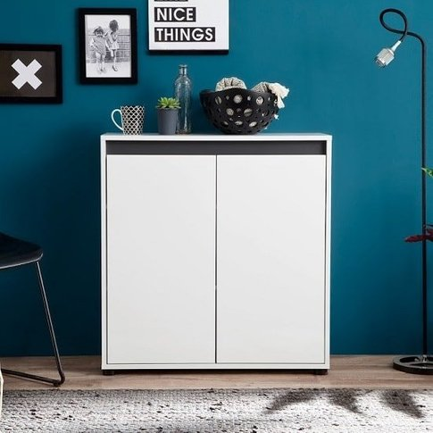 Leyton Compact Sideboard In White High Gloss Fronts ...