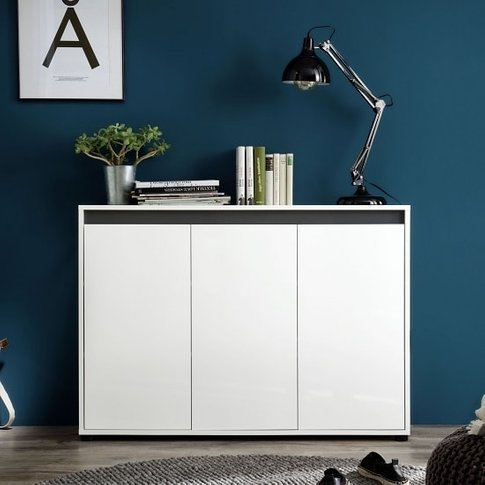 Leyton Modern Sideboard In White With High Gloss Fro...
