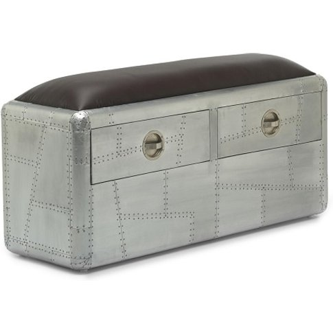 Libero Metal Bench In Brushed Steel And Faux Leather...