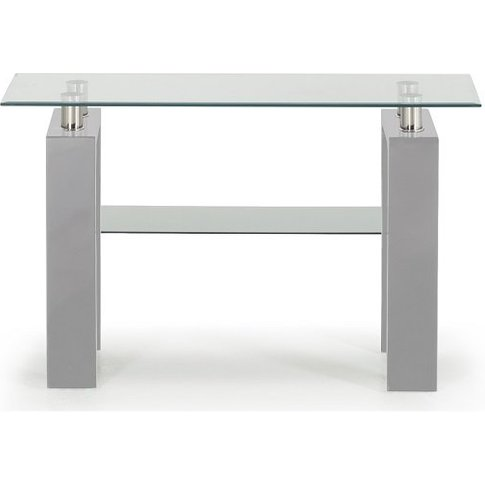 Lilia Tempered Glass Console Table With Grey Finish ...