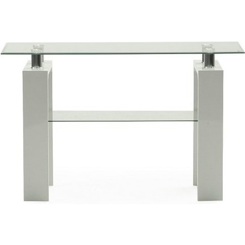 Lilia Tempered Glass Console Table With White Finish...