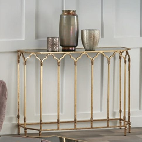 Lille Glass Console Table In Black Smoked With Gold ...