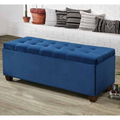 Lily Velvet Upholstered Storage Ottoman In Blue