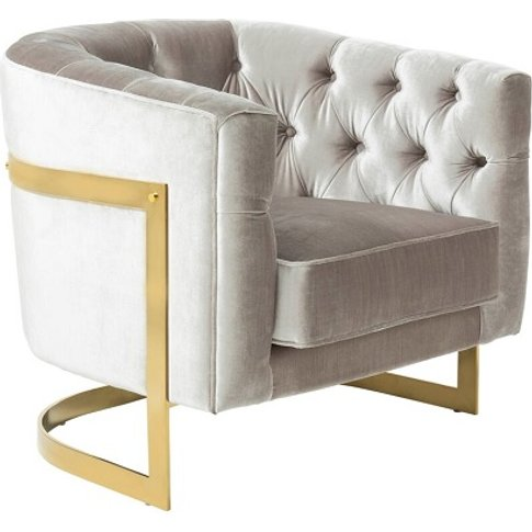 Lincoln Accent Chair In Grey Velvet And Gold Plated ...