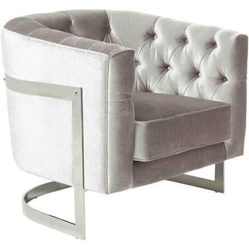 Lincoln Accent Chair In Grey Velvet And Polished Ste...