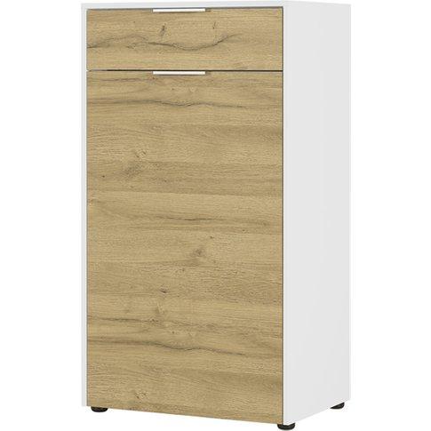 Linz Shoe Storage Cabinet In White And Grandson Oak