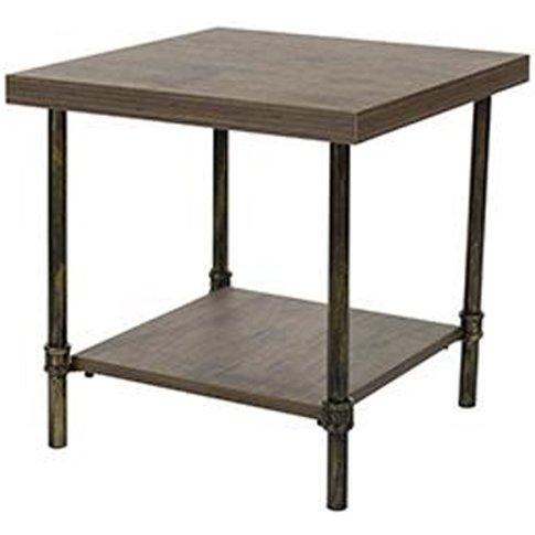 Loft Home Lamp Table In Dark Oak With Pipe Design Legs
