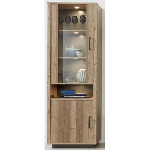 Logan Tall Display Cabinet In Bramberg Spruce With L...