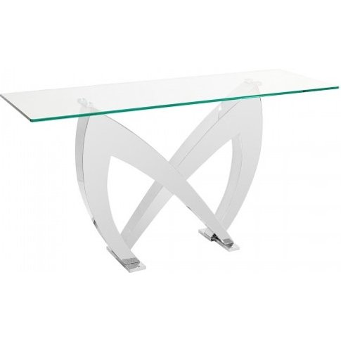 Loire Glass Console Table In Clear With Stainless St...