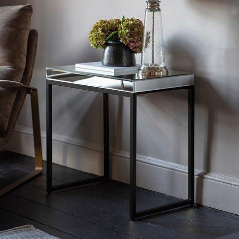 Lombok Mirrored Side Table With Matt Black Metal Frame