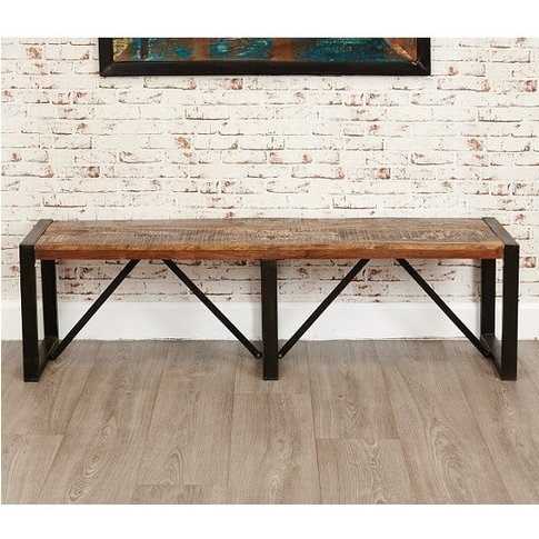 London Urban Chic Wooden Large Dining Bench With Ste...