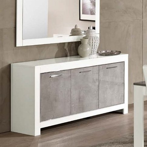 Lorenz Sideboard In Marble Effect White High Gloss W...