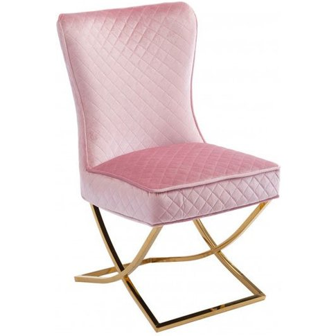 Lorenzo Pink Velvet Dining Chair With Gold Legs