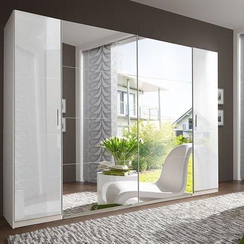 Lotto Lack Mirrored Sliding Door Wardrobe In White H...