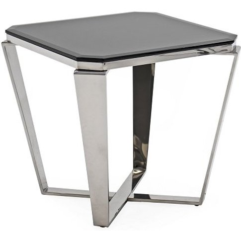 Lucerne Glass Lamp Table In Black With Stainless Ste...
