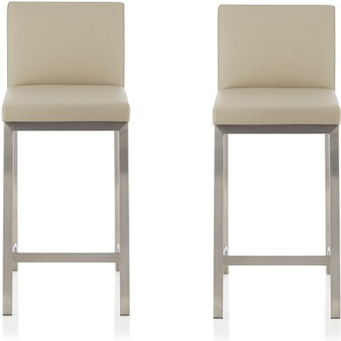 Ludlow Bar Stool In Beige Faux Leather In A Pair