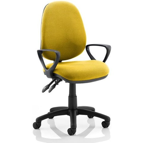 Luna Ii Office Chair In Senna Yellow With Loop Arms
