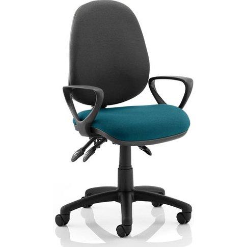 Luna Iii Office Chair With Maringa Teal Seat Loop Arms