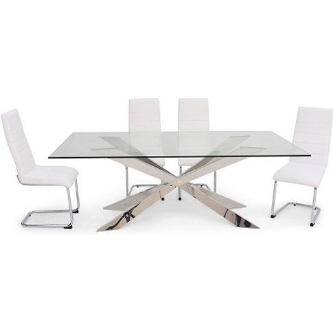 Lyon Glass Dining Table In Clear With 6 Vegas White ...
