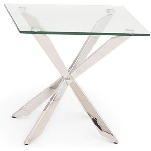 Lyon Glass Side Table In Clear With Stainless Steel ...