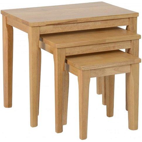 Macy Wooden Nest Of Tables In Oak Varnish Effect
