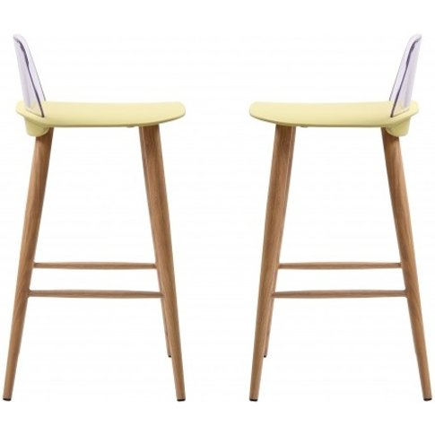 Madisson Lime Bar Stool With Oak Look Metal Legs In ...