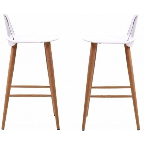 Madisson White Bar Stool With Oak Look Metal Legs In...