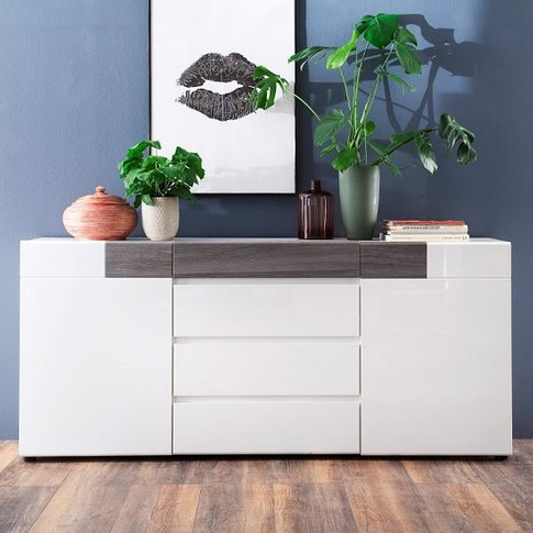 Madsen Sideboard In White Smoky Silver With High Glo...