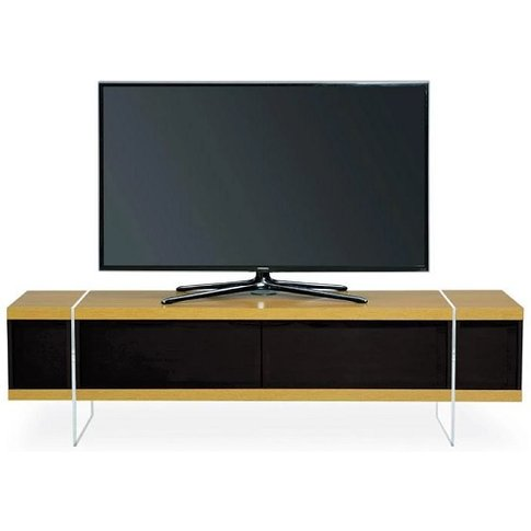 Mainor Tv Stand In Oak And Black Gloss With Glass Doors