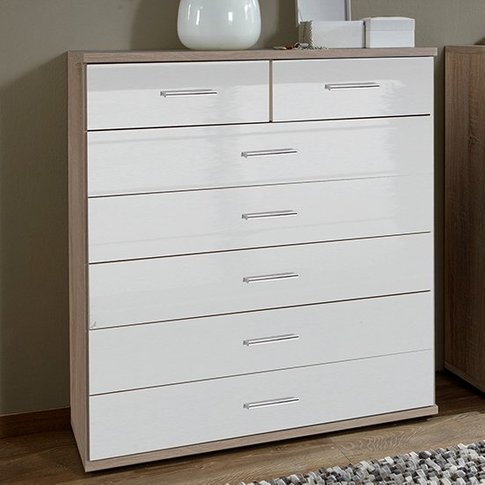 Malta Chest Of Drawers In High Gloss White And Oak W...